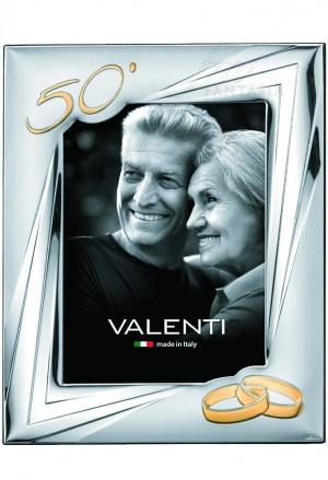 Cornice Portafoto 50° Anniversario Nozze Oro Argento Bilamina 18x24 Valenti 52033/5L