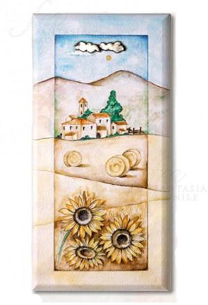 Quadro Paesaggio Bucolico Legno Applicazioni In Argento 925 Misura 13X26 Acca 703DH.54