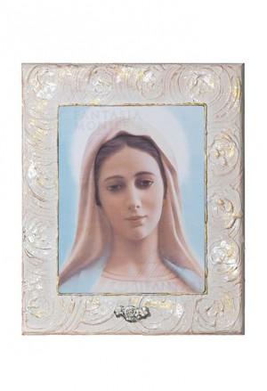 Quadro Madonna Medjugorje Argento 925 Legno Dipinto Misura 22X26 Acca 190ZX.1