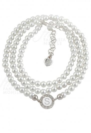 Bracciale Perle Dvccio Grace Donna Tre Fili Silver Centrale Lettera S Bronzo R67DUFM