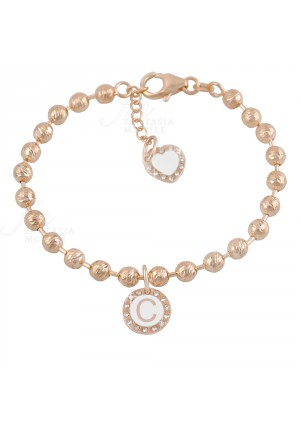 Bracciale Dvccio My Charms Beads Donna Lavorazione Diamantata Rosa Charm Pendente Lettera C Bronzo AV43EFM