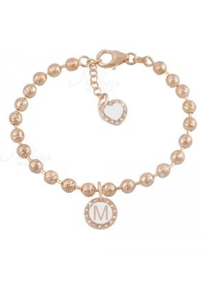 Bracciale Dvccio My Charms Beads Donna Lavorazione Diamantata Rosa Charm Pendente Lettera M Bronzo XFFQJFM