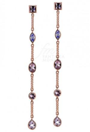 Orecchini Lunghi Brosway Donna Affinity Cristalli Swarovski Colorati Ottone Rosa BFF62