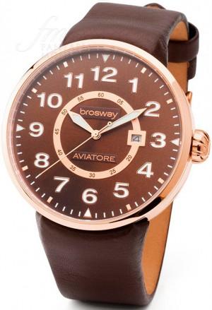 Orologio Brosway Uomo Oversize Collezione Aviatore Cinturino Cuoio Cassa Acciaio Rosa Vintage Style OB30