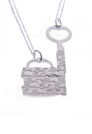 Collana Coppia Lui Lei Charms Lucchetto Chiave Divisibili Argento Incisioni Amore Lovelook CAT/B 1545