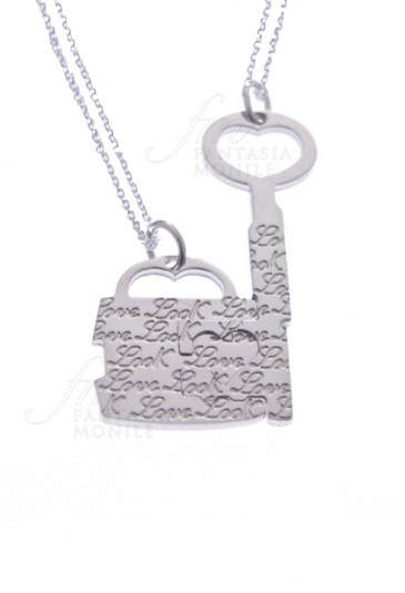 Collana Lucchetto Chiave Amore Argento LMLOG. CAT. B 1545