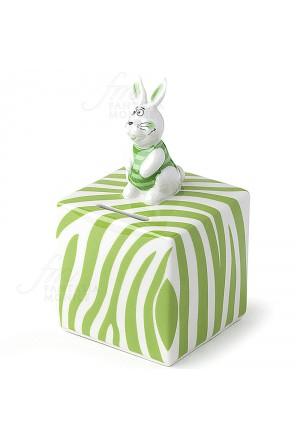 Salvadanaio Hervit Porcellana Coniglietto Verde Regalo Bomboniera 25923