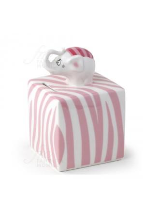 Salvadanaio Hervit Porcellana Elefante Rosa Regalo Bomboniera 25924