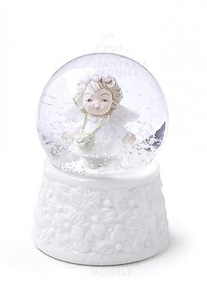 Boule De Neige Hervit Angelo Palla Con Neve Porcellana Bianca Bomboniera 26125