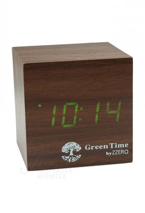 Orologio Tavolo Sveglia Led Clock Stile Legno Wood Style Green Time
