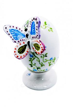 Uovo Pasqua Porcellana Capodimonte Dipinto A Mano Rilievo Tema Farfalla Made In Italy UB12F