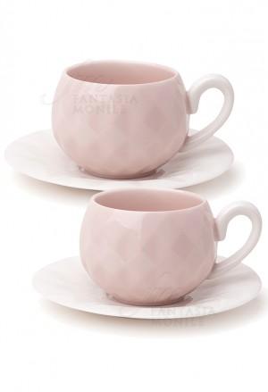 Set Due Tazzine Hervit Caffe Porcellana Rosa Decoro Diamantato Regalo Matrimonio 26399