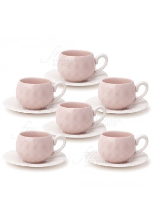 Set Sei Tazzine Hervit Caffe Porcellana Rosa Decoro Diamantato Regalo Matrimonio 26579