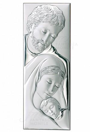 Quadro Sacra Famiglia Argento Bilamina Legno Dimensione 17x45 Valenti 749/7