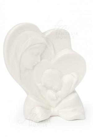 Bomboniera Hervit Cuore Porcellana Madonna Con Bambino Battesimo NQSM3FM