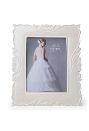 Cornice Portafoto Hervit Porcellana Bianca Sagomata Dimensione Esterna 22X27 Regalo Matrimonio W05YKFM