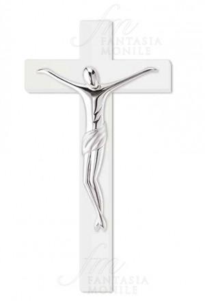 Crocefisso Cristo Stilizzato Legno Bianco Sovrani R335