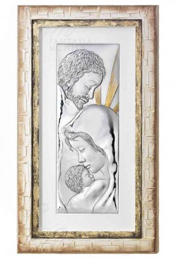Quadro Sacra famiglia Argento legno Dipinto Oro Quadro capoletto Sacro