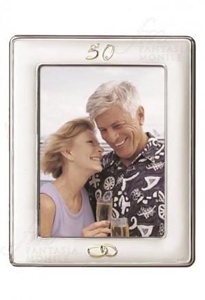 Cornice Portafoto 50 Anniversario Nozze Oro Lastra Argento 925 Misura 13x18 Acca 465QM.12