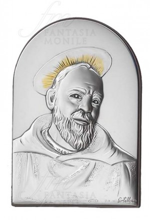 Quadro Sacro Argento Legno Padre Pio Acca 35LT.6