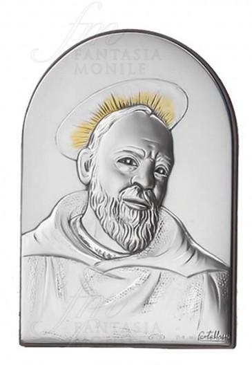 Quadro Padre Pio San Pio da Pietrelcina Argento 925 Legno Da Appoggio Acca 35LT.6