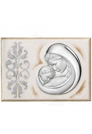 Quadro Madonna Con Bambino Capoletto Argento 925 Legno Dipinto Misura 45X32 Regalo Matrimonio Acca 208BE