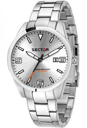Orologio Sector Uomo Solo Tempo Datario Modello 245 Acciaio Silver R3253486008