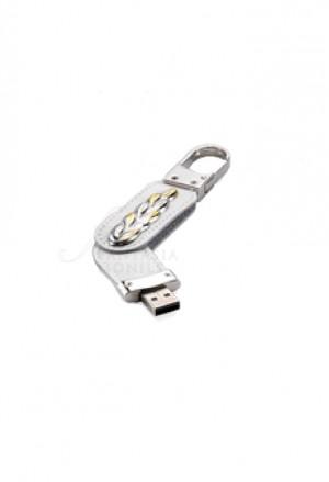 Portachiavi Moschettone Comunione Con Penndrive Usb 8GB Argento 925 Similpelle Bianco Acca CO.9 PD