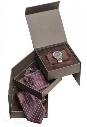 Orologio Colonna Uomo Polsino Sartoriale Set Cravatta Pochette FPCOEFM