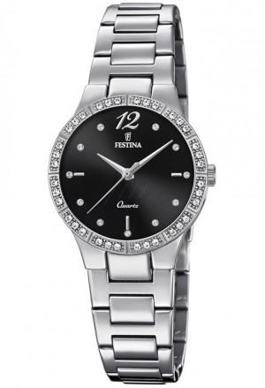 Orologio Festina Donna Quadrante Black Cristalli Acciaio Silver F20240/2