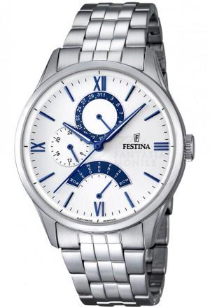 Orologio Festina Uomo Multifunzione Quadrante Bianco Acciaio Silver F16822/5