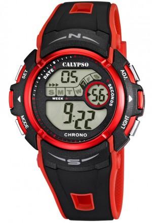 Orologio Calypso Digitale Cronografo Illuminazione Allarma Calendario Cinturino Rosso K5610/5