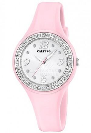 Orologio Calypso Lady Cristalli Cinturino Rosa Finitura Silver K5567/C
