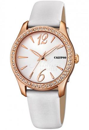 Orologio Calypso Donna Cinturino Bianco Finitura Rose Cristalli K5717/2