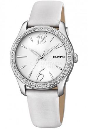 Orologio Calypso Donna Cinturino Bianco Finitura Silver Cristalli K5717/1
