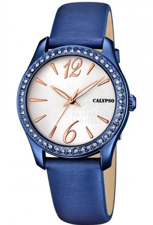 Orologio Calypso Donna Cinturino Blu Finitura Rose Cristalli K5717/3