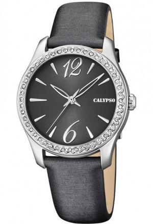 Orologio Calypso Donna Cinturino Grigio Finitura Silver Cristalli K5717/4