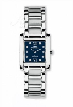 Orologio Mondia Lady Swisse Made Quadrante Blu Cristalli Acciaio Regalo Matrimonio 9-352-4