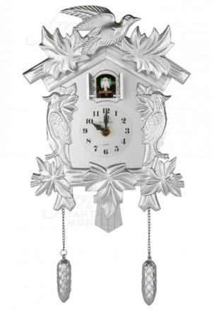 Orologio Cucu Lowell Da Parete Muro Quarzo Cassa Resina Verniciata Lucida Silver Stile Barocco Design 50022S