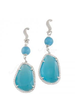Orecchini Sovrani Donna Angelite Cristalli Azzurri Ottone Rodio Collezione Oriane J2653