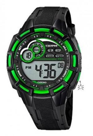 Orologio Calypso Uomo Digitale Crono Countdown Allarme Luminoso Nero Verde K5625/3