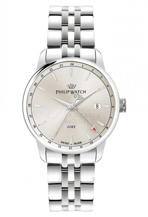 Orologio Philip Watch Uomo Anniversary Gmt Swiss Made 10ATM Silver R8253150003