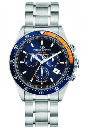 Orologio Philip Watch Uomo Modello Sealion Chrono Datario 10ATM Blu Arancio R8273609001