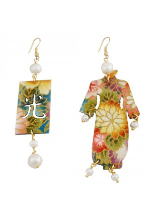 Orecchini Lebole Kimono Large Seta Giapponese Legno Perle 4COY3FM