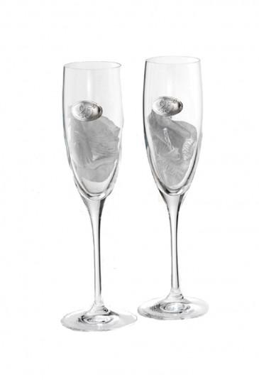 Bicchieri Nozze Argento Cristallo Argento Logo 25 Anni Matrimonio