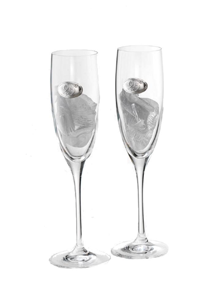 Regalo 25 Anniversario Matrimonio.Bicchieri Nozze Argento Cristallo Argento Logo 25 Anni Matrimonio