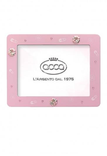 Cornice Portafoto Bimba Rosa Quadrifoglio Argento Dimensione 13X18 Acca 117R