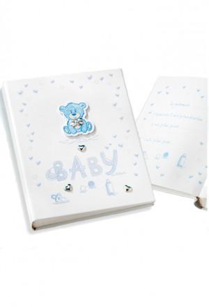 Album Portafoto Baby Bambino Cuore Orsetto Argento Con CD Misura 20X25 Regalo Battesimo Acca 393C