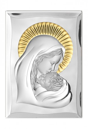 Quadro Sacro Madonna Con Bambino Argento Bilamina Capoletto 35X50 Matrimonio Valenti 81300/7L