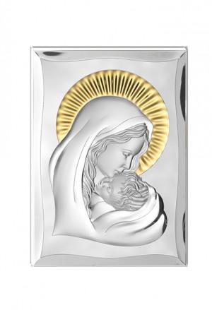 Quadro Sacro Madonna Con Bambino Argento Bilamina 28X40 Valenti 81300/6L